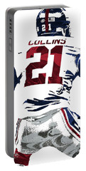Portable Battery Charger featuring the mixed media Landon Collins New York Giants Pixel Art 1 by Joe Hamilton