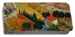 Portable Battery Charger featuring the painting Landscape With House And Ploughman by Van Gogh