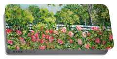 Landscape With Roses Fence Portable Battery Charger