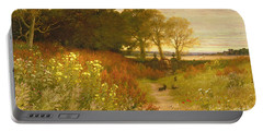 Landscape With Wild Flowers And Rabbits Portable Battery Charger by Robert Collinson