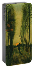 Portable Battery Charger featuring the painting Lane Of Poplars At Sunset by Van Gogh