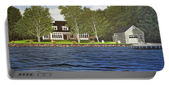 Portable Battery Charger featuring the painting Langer Summer Home Lake Simcoe by Kenneth M Kirsch