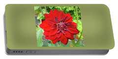 Large Red Dahlia Portable Battery Charger by Jay Milo