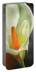 Large White Calla Portable Battery Charger