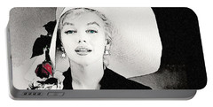 Large White Hat -marilyn Monroe  - Sketch Portable Battery Charger