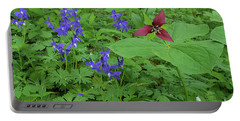 Larkspur And Red Trillium Portable Battery Charger by Alan Lenk
