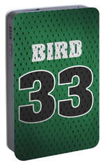 Larry Bird Boston Celtics Retro Vintage Jersey Closeup Graphic Design Portable Battery Charger by Design Turnpike