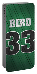 Larry Bird Boston Celtics Retro Vintage Jersey Closeup Graphic Design Portable Battery Charger