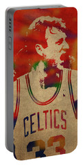 Larry Bird Watercolor Portrait Portable Battery Charger