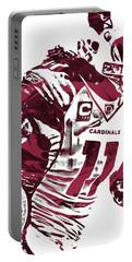 Portable Battery Charger featuring the mixed media Larry Fitzgerald Arizona Cardinals Pixel Art 1 by Joe Hamilton