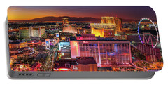 Portable Battery Charger featuring the photograph Las Vegas Strip North View After Sunset by Aloha Art