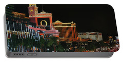 Las Vegas Strip Oil On Canvas Painting Portable Battery Charger