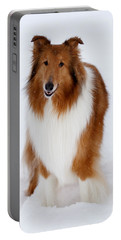 Lassie Enjoying The Snow Portable Battery Charger