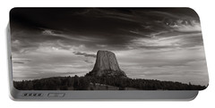 Last Light On Devils Tower Bw Portable Battery Charger