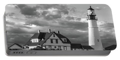 Portable Battery Charger featuring the photograph Late Afternoon Clouds, Portland Head Light  -98461-sq by John Bald