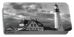 Late Afternoon Clouds, Portland Head Light  -98461-sq Portable Battery Charger