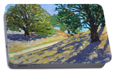 Portable Battery Charger featuring the painting Late Light's Shadows by Gary Coleman