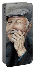 Portable Battery Charger featuring the painting Laughing Old Man by Judy Kirouac