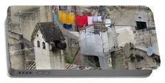 Laundry Day In Matera.italy Portable Battery Charger