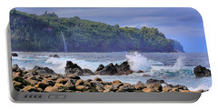 Portable Battery Charger featuring the photograph Laupahoehoe Point by DJ Florek
