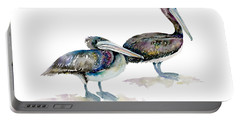 Laurel And Hardy, Brown Pelicans Portable Battery Charger by Amy Kirkpatrick