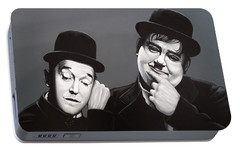 Laurel And Hardy Portable Battery Charger by Paul Meijering