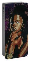Portable Battery Charger featuring the painting Lauryn Hill by Rachel Natalie Rawlins