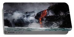 Lava Dripping Into The Ocean Portable Battery Charger
