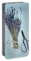 Lavender And Antique Scissors Portable Battery Charger by Stephanie Frey