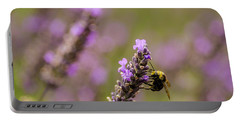 Portable Battery Charger featuring the photograph Lavender And Bee by Nick Boren