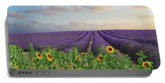 Lavender And Sunflower Flowers Field Portable Battery Charger by Anastasy Yarmolovich