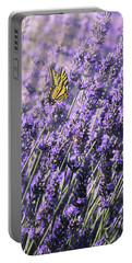 Portable Battery Charger featuring the photograph Lavender And Tiger Swallowtail In The Morning Light by Diane Schuster