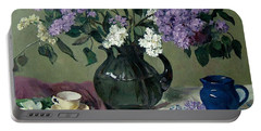 Lavender And White Lilacs With Blue Creamer And Teacup Portable Battery Charger