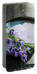 Portable Battery Charger featuring the photograph Lavender Bath Salts In Dish by Elena Elisseeva