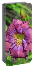 Portable Battery Charger featuring the digital art Lavender Blue Baby Daylily by Eva Kaufman
