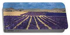 Portable Battery Charger featuring the painting Lavender Field by Anastasiya Malakhova