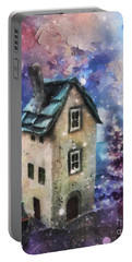 Portable Battery Charger featuring the painting Lavender Hill by Mo T