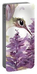 Portable Battery Charger featuring the painting Lavender Hummer by Dawn Derman