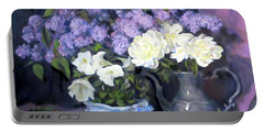 Lavender Lilacs, White Peonies, White Lisianthus, Portable Battery Charger