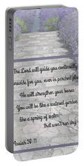 Lavender Path With Scripture Art Isiah 58 Portable Battery Charger
