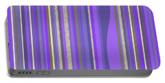 Portable Battery Charger featuring the digital art Lavender Random Stripe Abstract by Val Arie