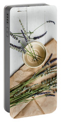 Portable Battery Charger featuring the photograph Lavender Still Life 1 by Rebecca Cozart