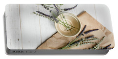 Portable Battery Charger featuring the photograph Lavender Still Life 2 by Rebecca Cozart