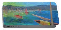 Portable Battery Charger featuring the painting Lazy Summer by Barbara McDevitt