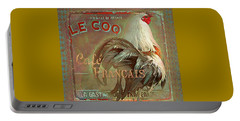 Portable Battery Charger featuring the digital art Le Coq - Cafe Francais by Jeff Burgess