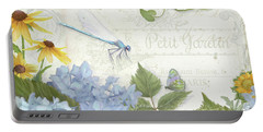 Le Petit Jardin 2 - Garden Floral W Dragonfly, Butterfly, Daisies And Blue Hydrangeas Portable Battery Charger by Audrey Jeanne Roberts