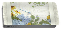 Le Petit Jardin 2 - Garden Floral W Dragonfly, Butterfly, Daisies And Blue Hydrangeas W Border Portable Battery Charger by Audrey Jeanne Roberts