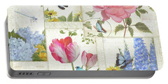 Le Petit Jardin - Collage Garden Floral W Butterflies, Dragonflies And Birds Portable Battery Charger by Audrey Jeanne Roberts