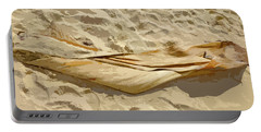 Portable Battery Charger featuring the digital art Leaf In The Sand by Francesca Mackenney