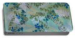 Leafy Floor Cloth Portable Battery Charger by Judith Espinoza
